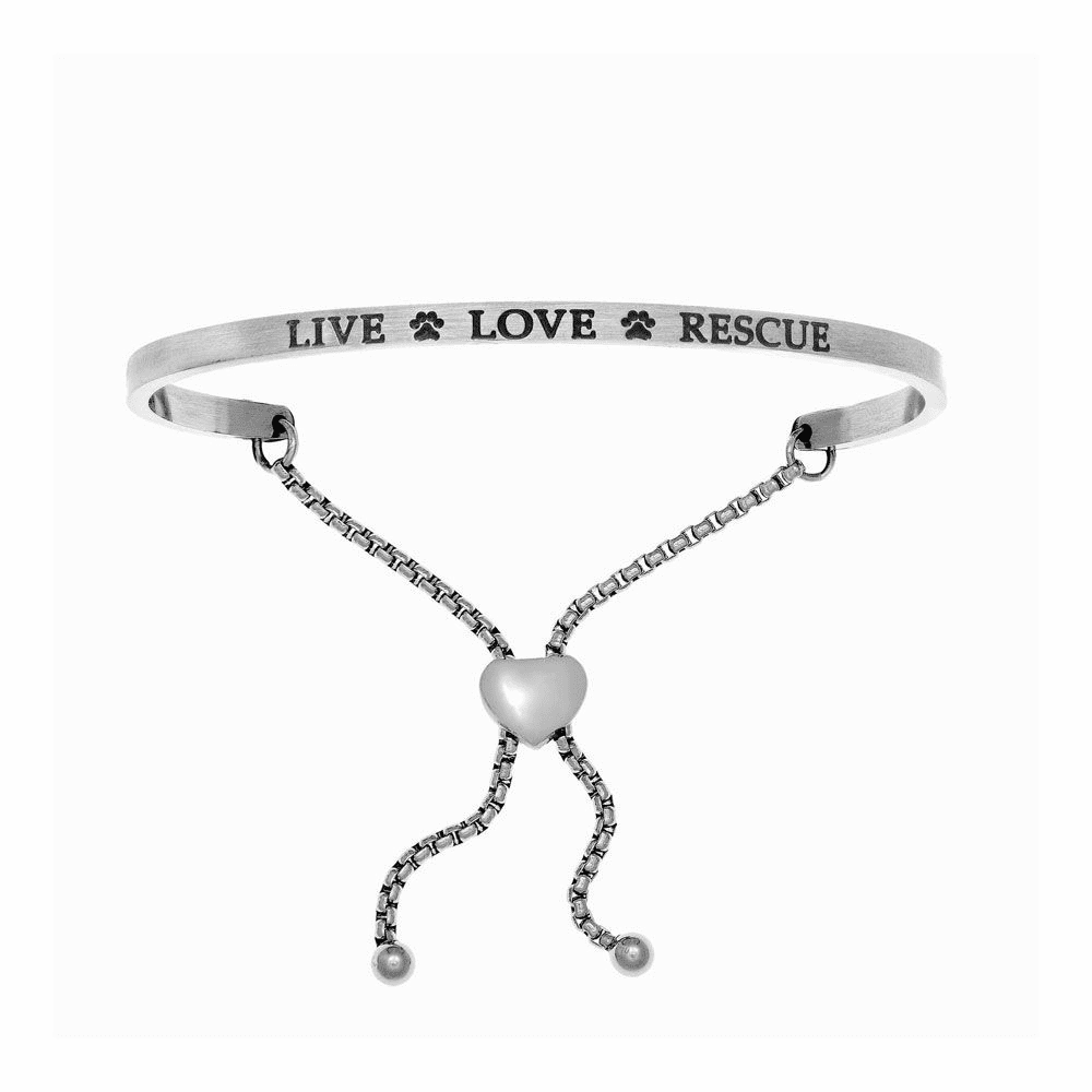 Live Love Rescue Adjustable Bangle - Stainless Steel