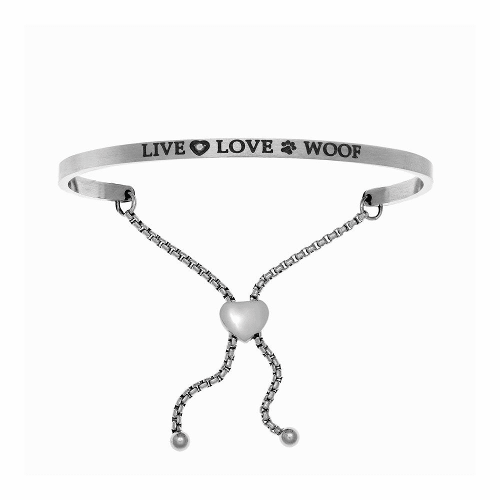 Live Love Woof Adjustable Bangle - Stainless Steel