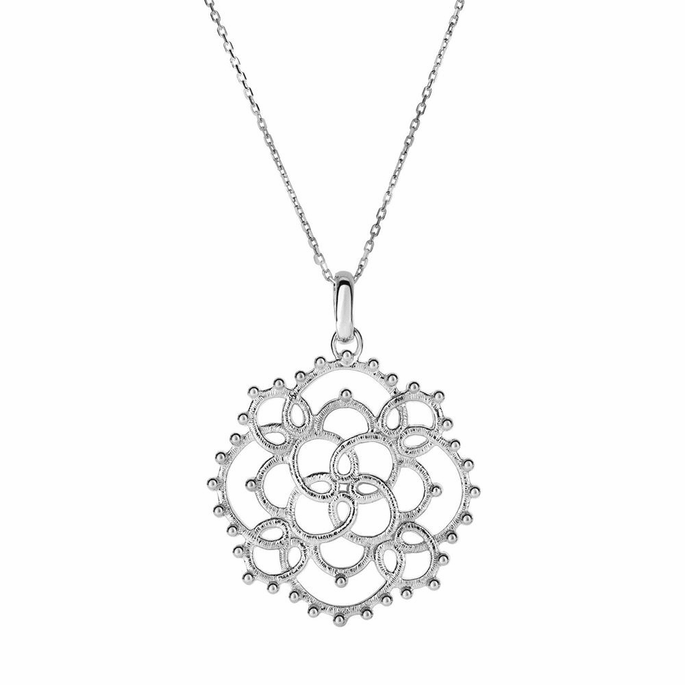 Loop Pattern Large Circle Fancy Necklace - Sterling Silver 18 Inch