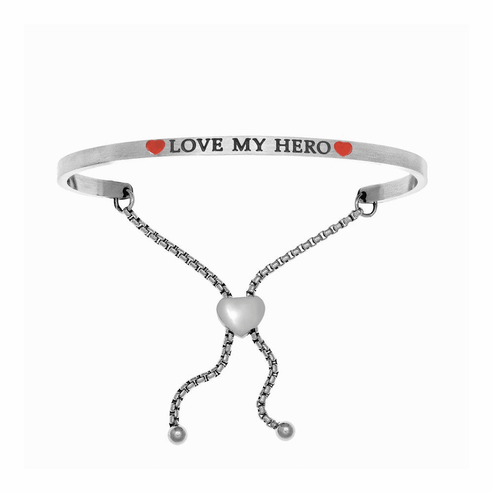 Love My Hero Adjustable Bangle - Stainless Steel
