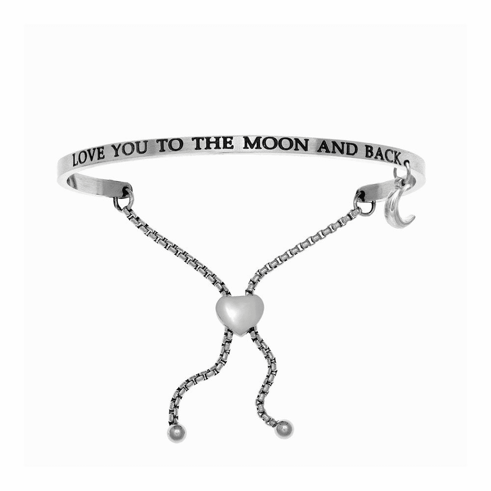 Love You to the Moon and Back Adjustable Bangle - Stainless Steel