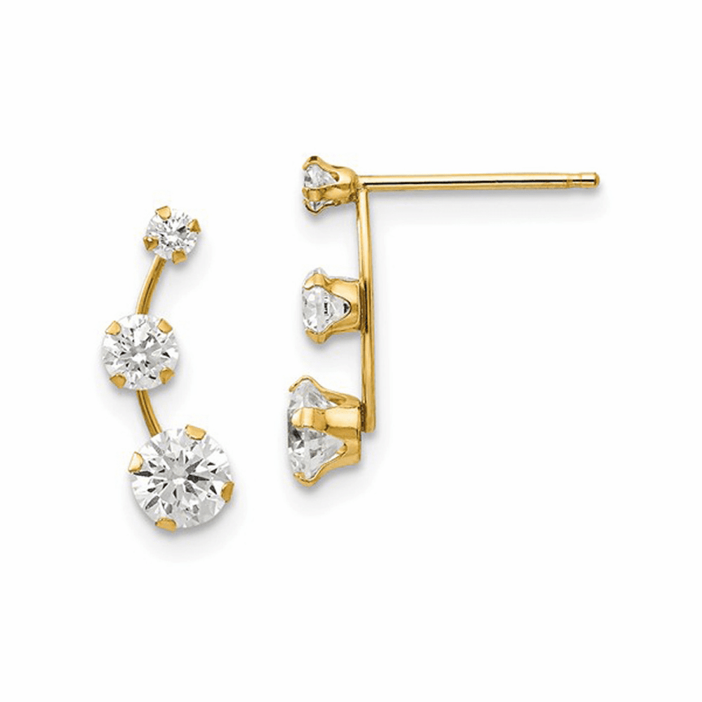 Madi K Curved 3-Stone CZ Post Earrings - 14K Yellow Gold