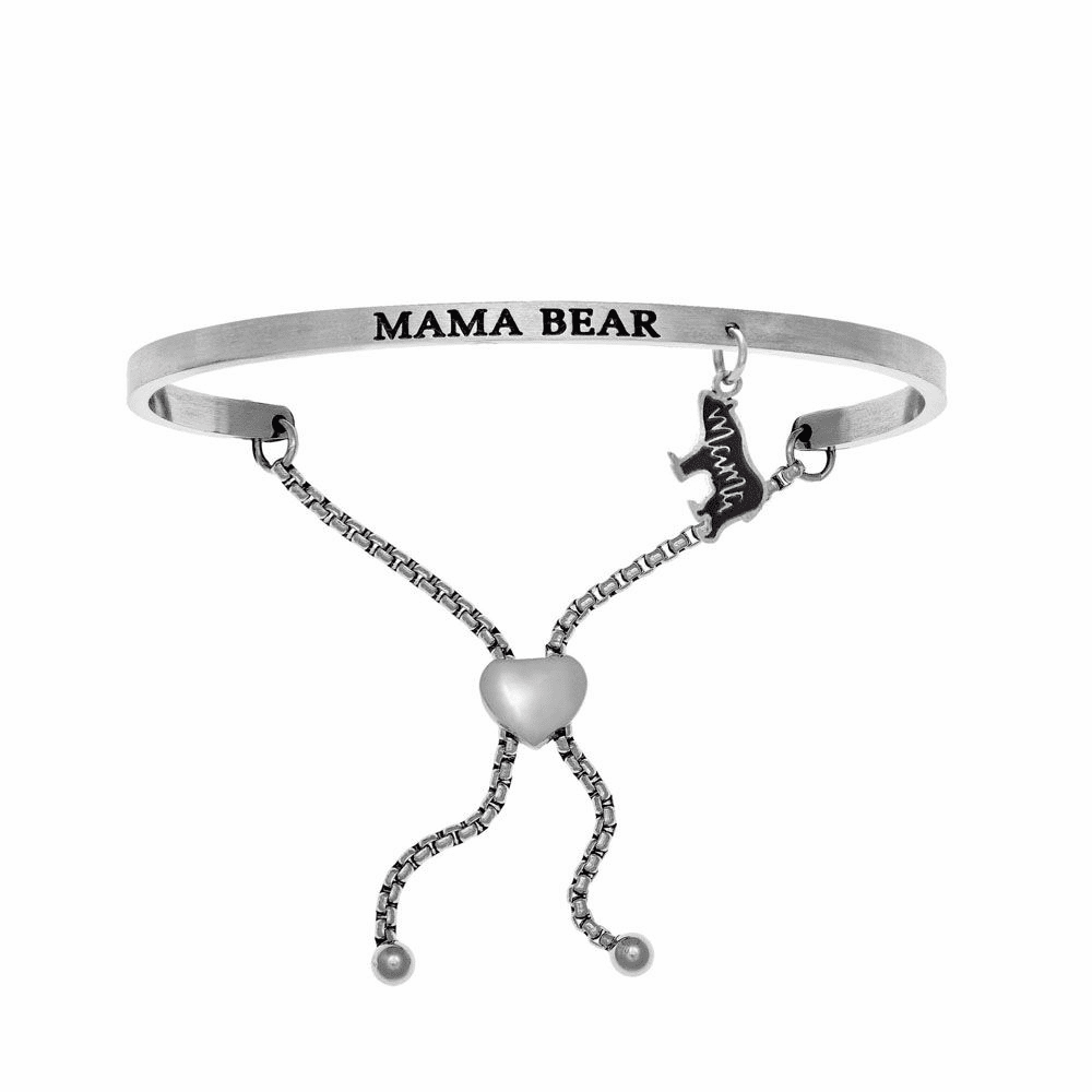 Mama Bear Adjustable Bangle - Stainless Steel