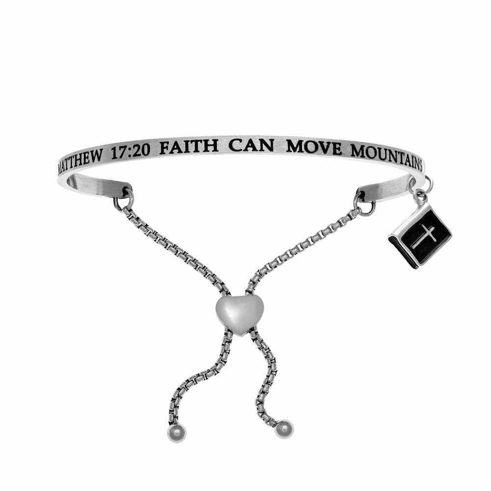 Matthew 17:20 Faith Can Move Mountains Bangle - Stainless Steel