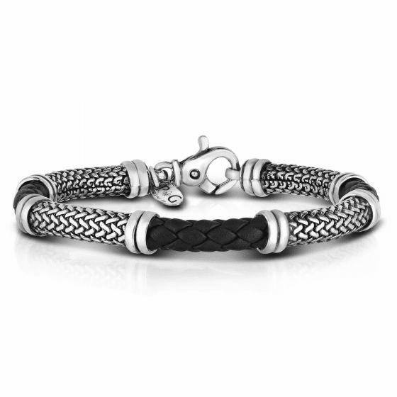 Men's Tuscan Woven Sterling Silver and Black Leather Bracelet