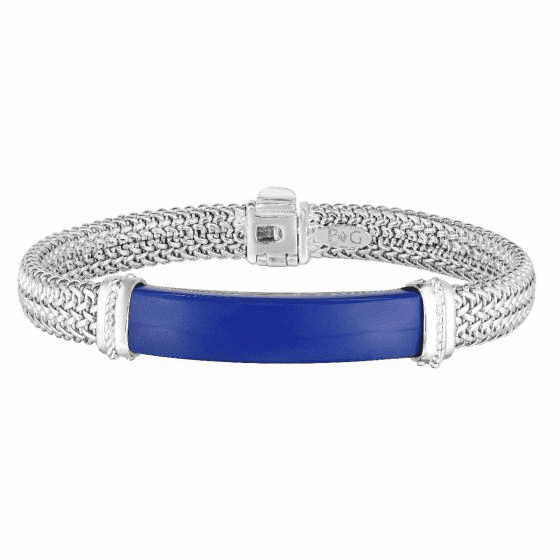 Men's Tuscan Woven Sterling Silver ID bracelet with Lapis