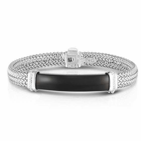 Men's Tuscan Woven Sterling Silver ID bracelet with Onyx