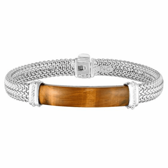 Men's Tuscan Woven Sterling Silver ID bracelet with Tiger Eye