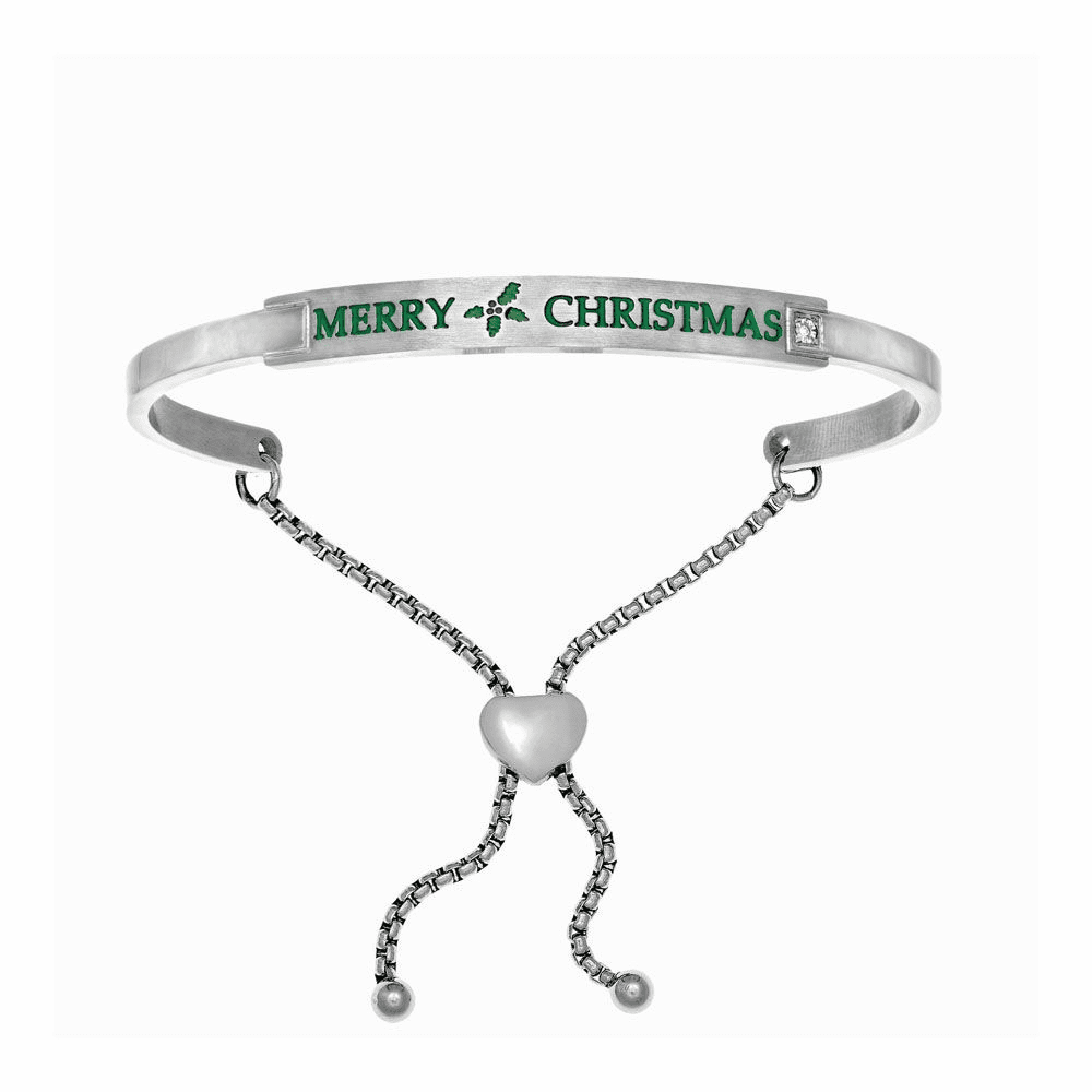 Merry Christmas Adjustable Bangle - Stainless Steel