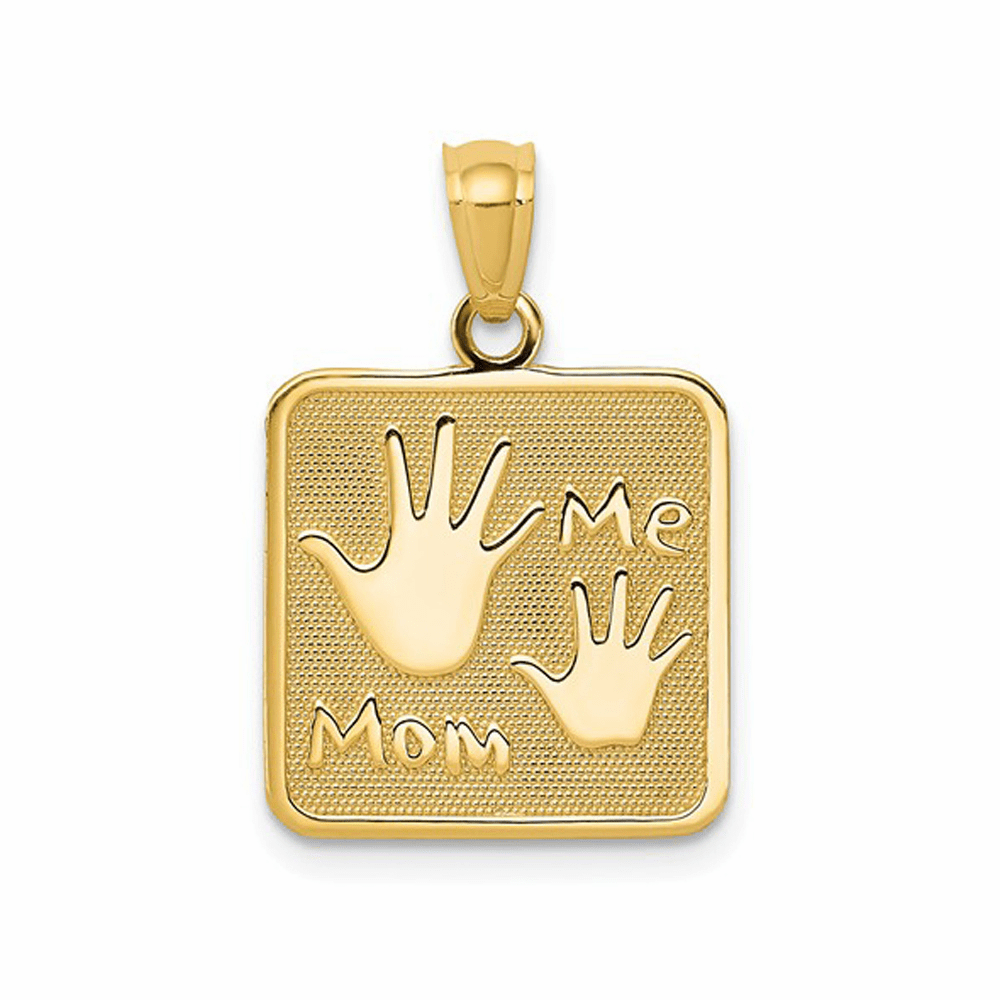Mom and Me Hands Pendant - 14K Yellow Gold