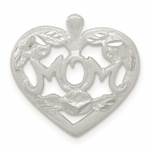 Mom Heart with Flowers Charm - Sterling Silver