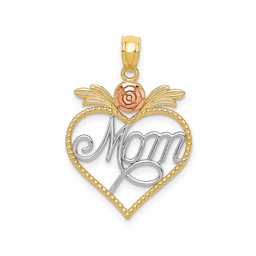 Mom in Heart with Rose Pendant - 14K Gold