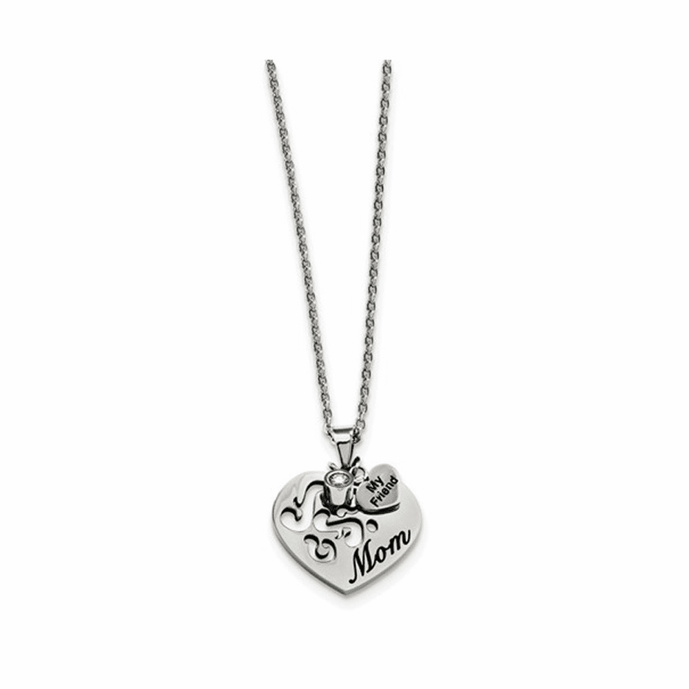 Mom with CZ and My Friend Pendant Necklace - Stainless Steel 24 Inch