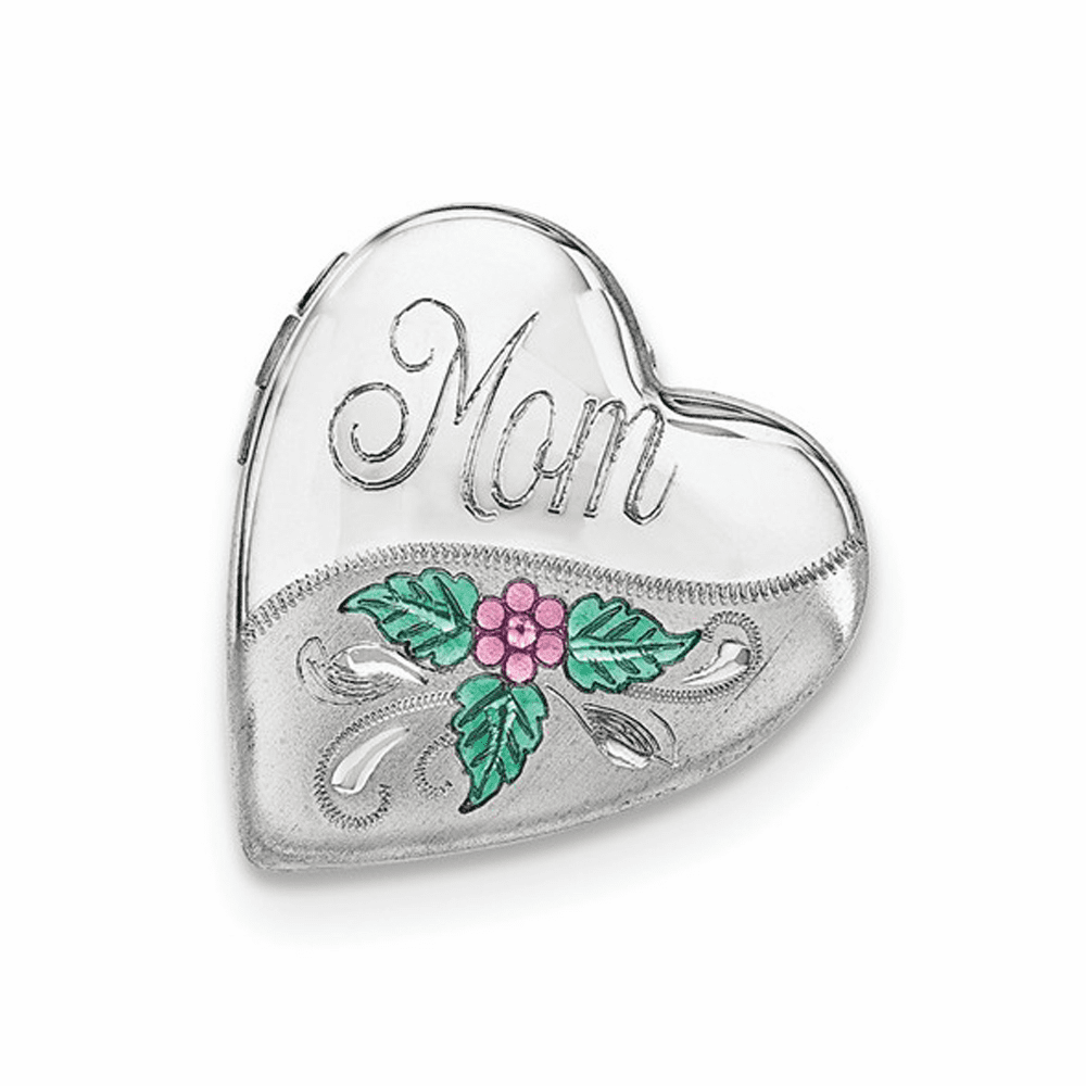 Mom with Enamel Flower Falling Heart Locket - Sterling Silver