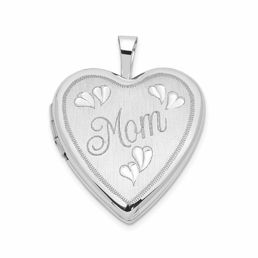 Mom with Hearts Heart Locket - 14K White Gold