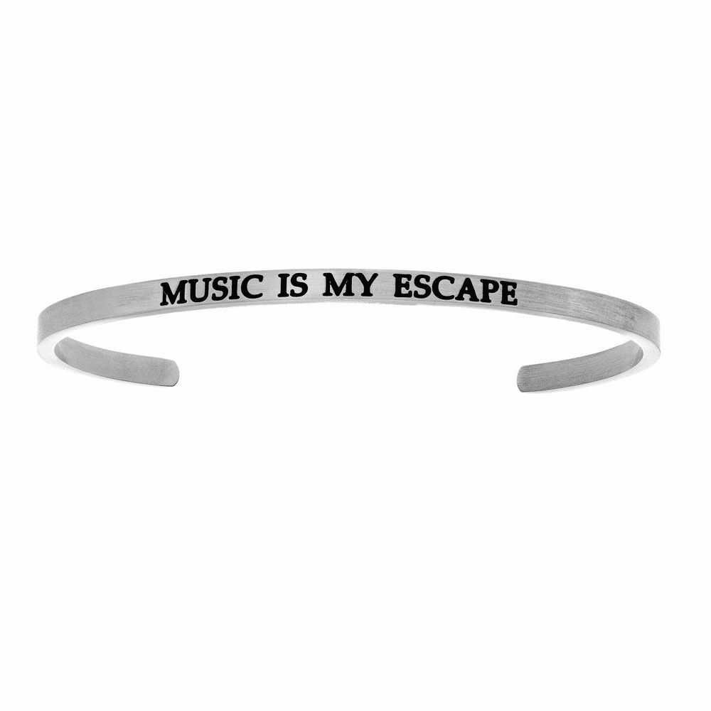 Music is my Escape Cuff Bangle - Stainless Steel