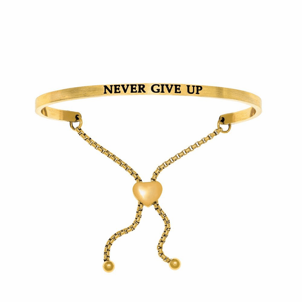 Never Give Up Adjustable Friendship Bracelet - Stainless Steel