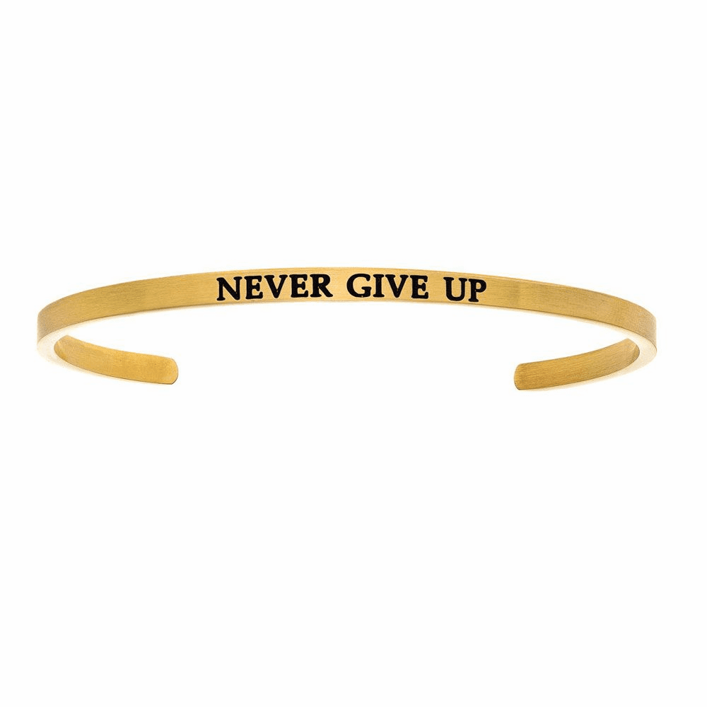 Never Give Up Cuff Bangle - Stainless Steel