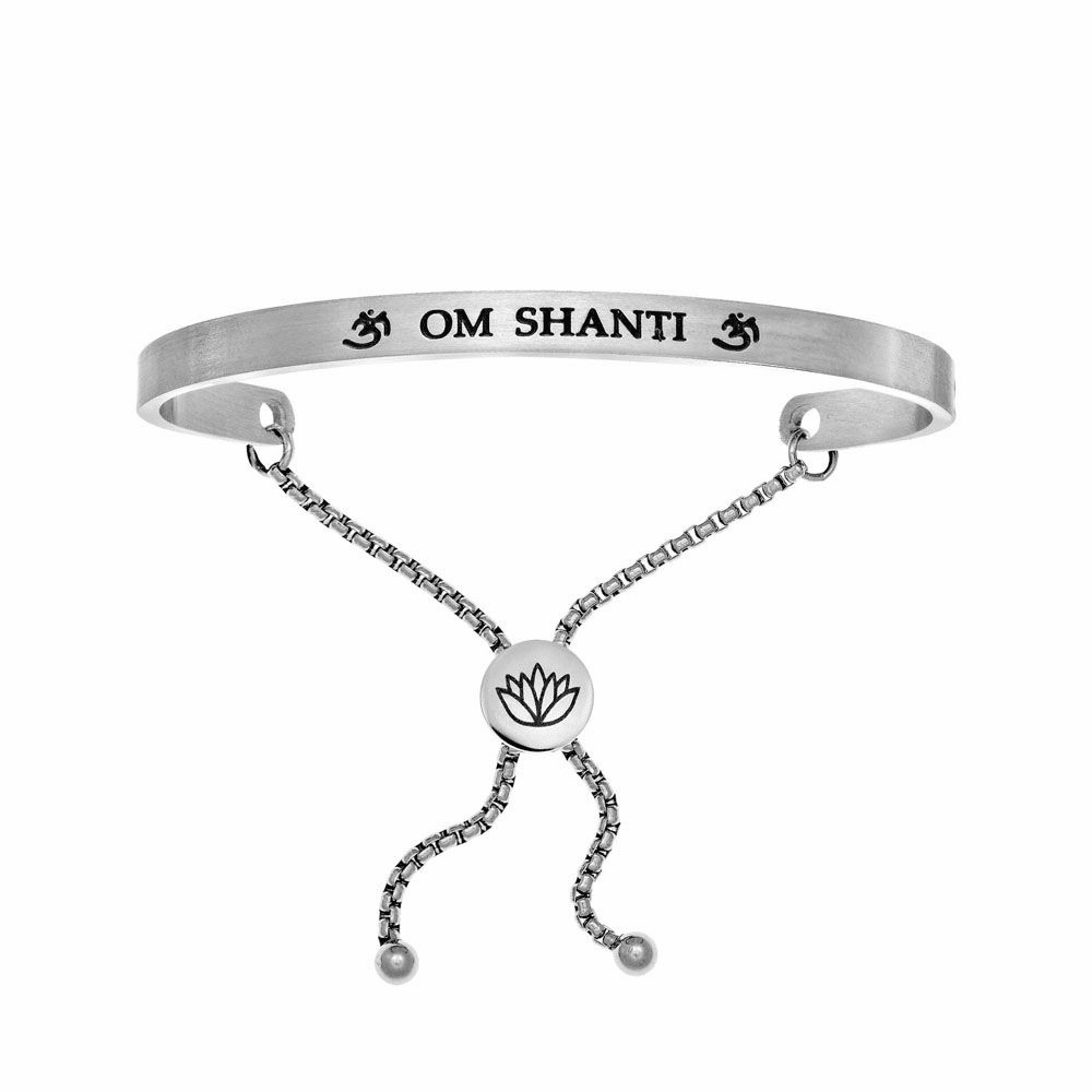 Om Shanti Adjustable Bangle - Stainless Steel