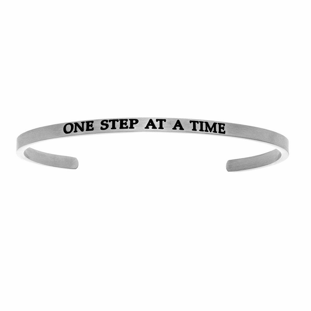 One Step At A Time Cuff Bangle - Stainless Steel