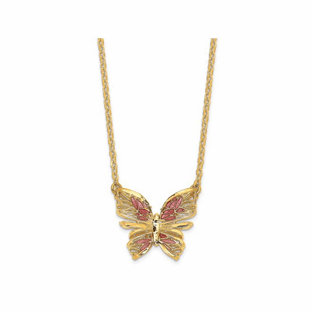Pink Enamel Butterfly Necklace - 14K Yellow Gold 18 Inch