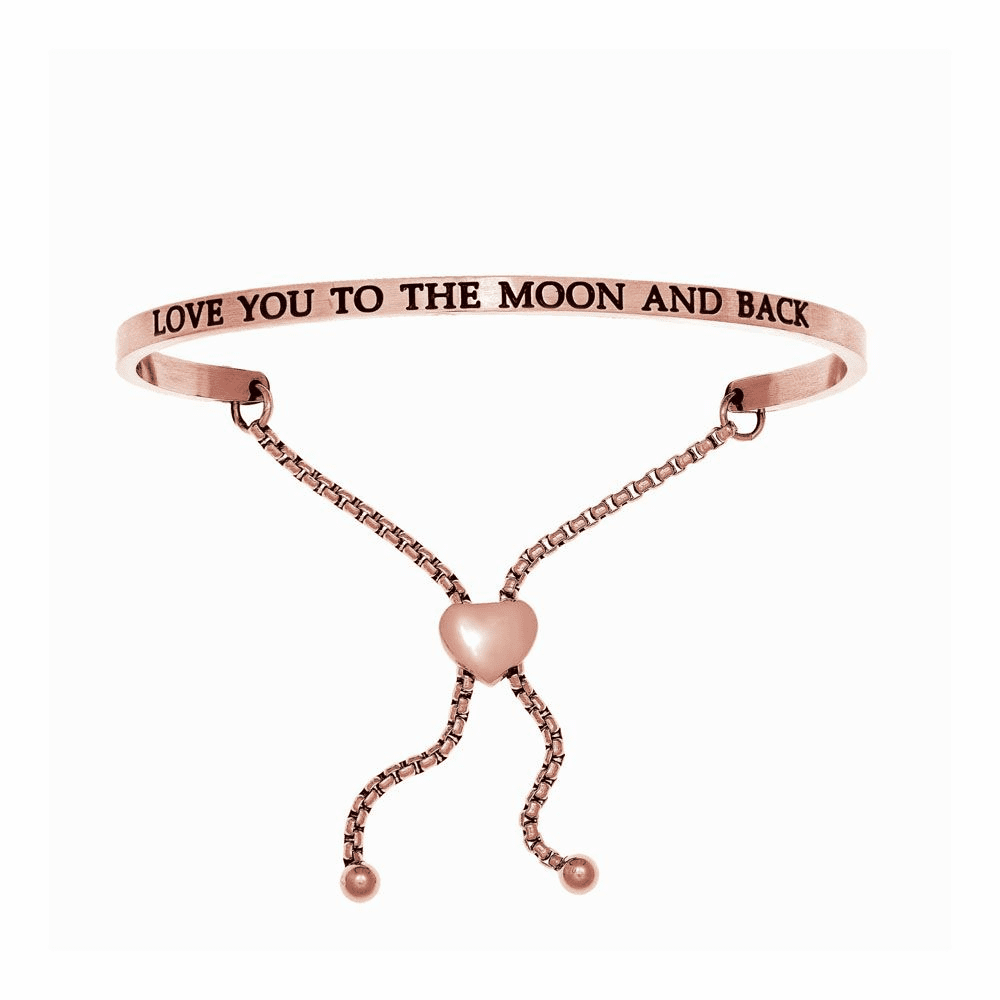 Pink Finish Love You to the Moon and Back Bangle - Stainless Steel