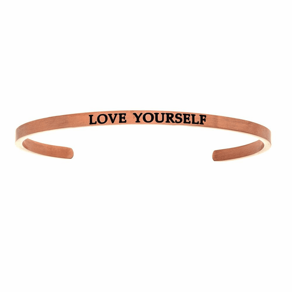 Pink Finish Love Yourself Cuff Bangle - Stainless Steel