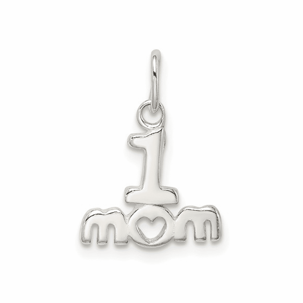 Polished #1 Mom Charm - Sterling Silver