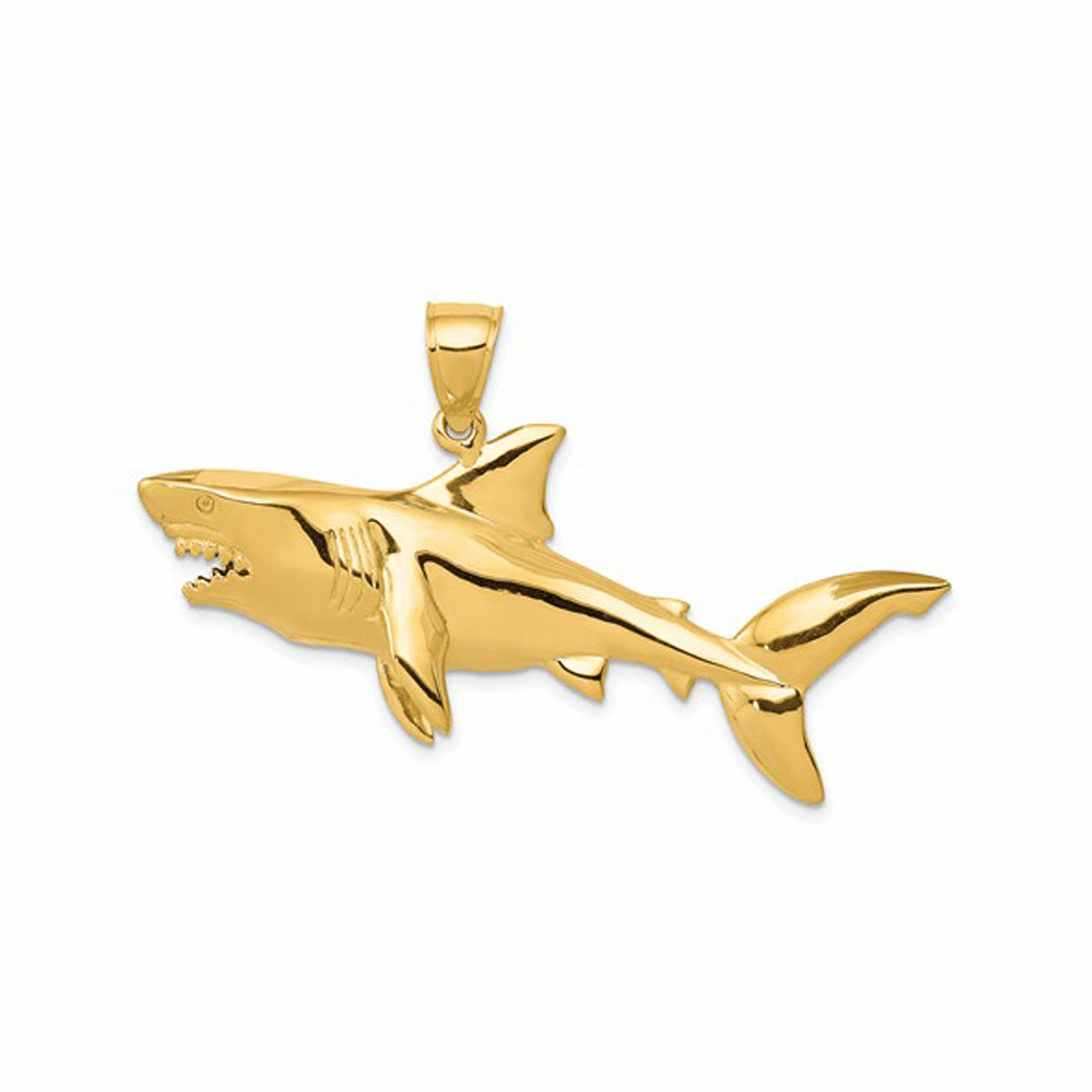 Polished 3-Dimensional Shark Pendant - 14K Yellow Gold