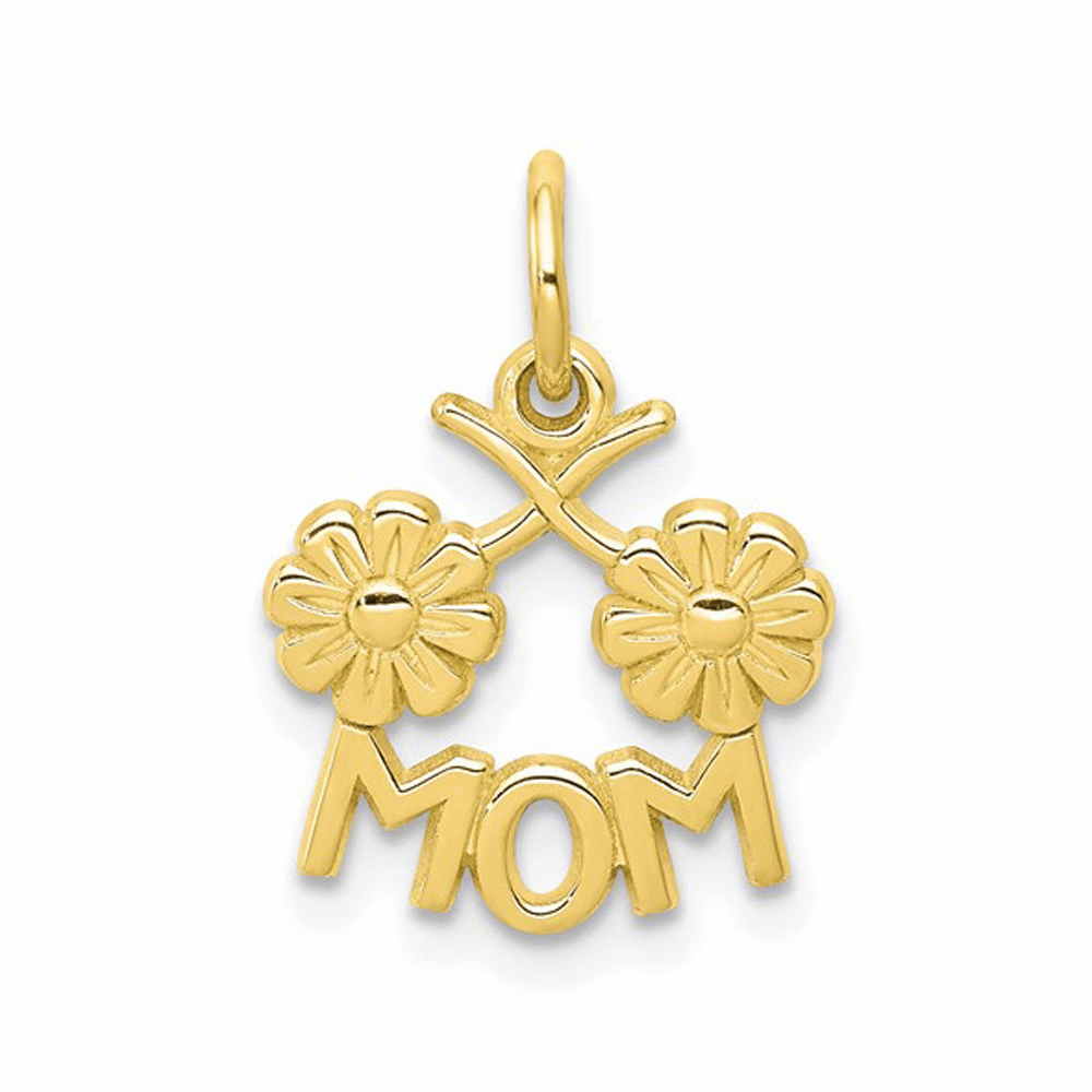 Polished and Casted Mom Charm - 10K Yellow Gold