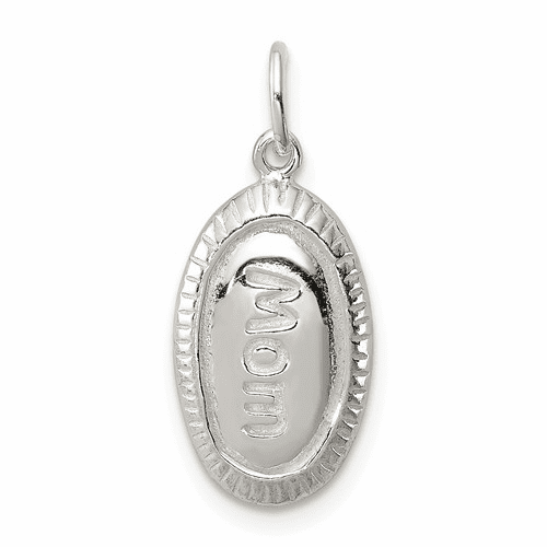 Polished and Casted Mom Charm - Sterling Silver