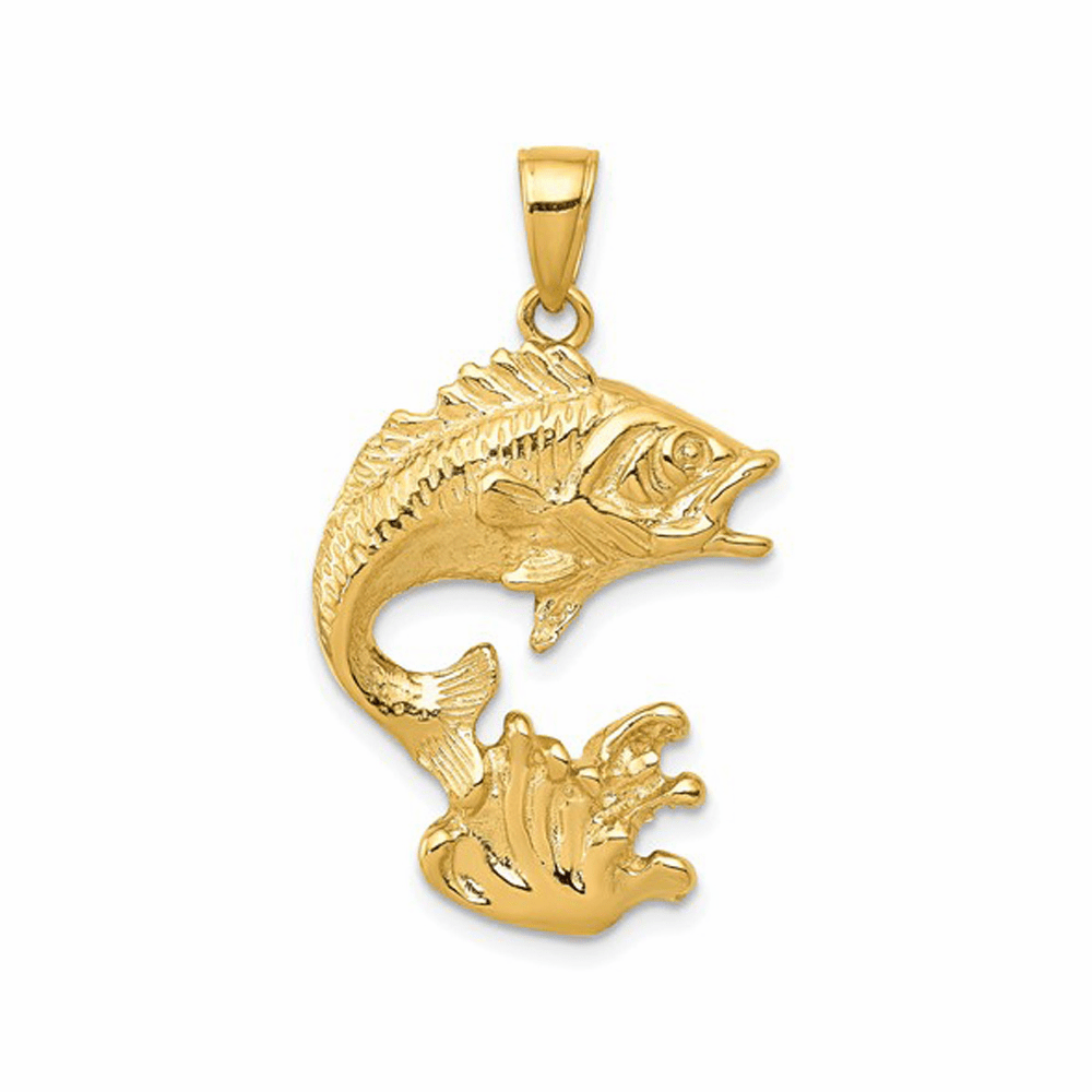 Polished and Casted Open-Backed Bass Fish Pendant - 14K Yellow Gold