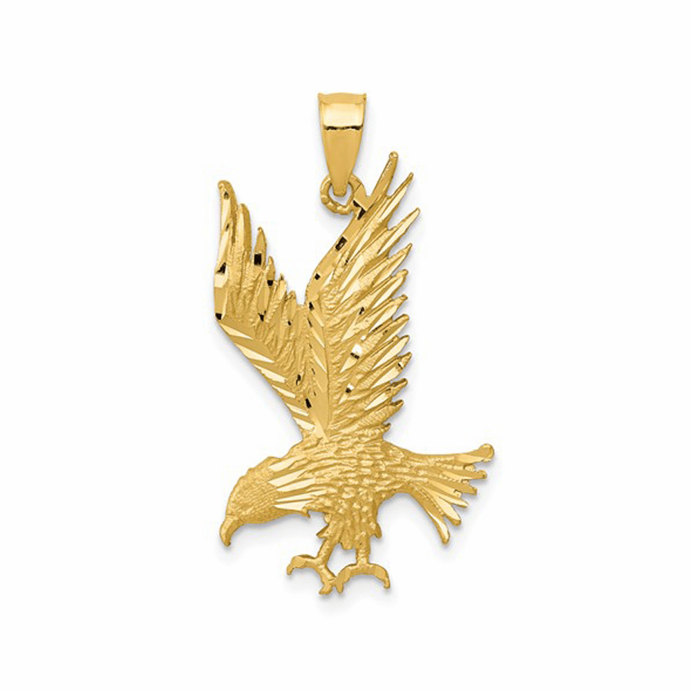Polished And Diamond-Cut Eagle Pendant - 14K Yellow Gold