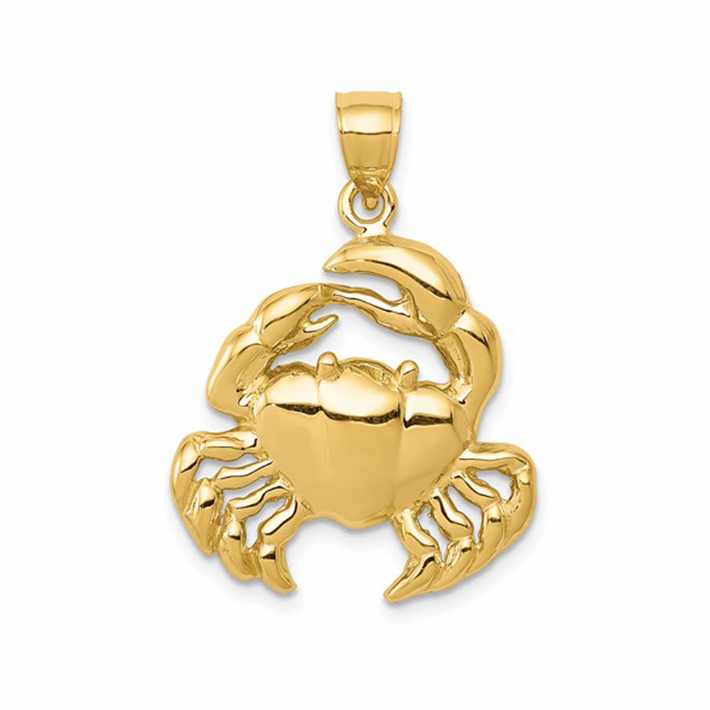 Polished and Solid Crab Pendant - 14K Yellow Gold