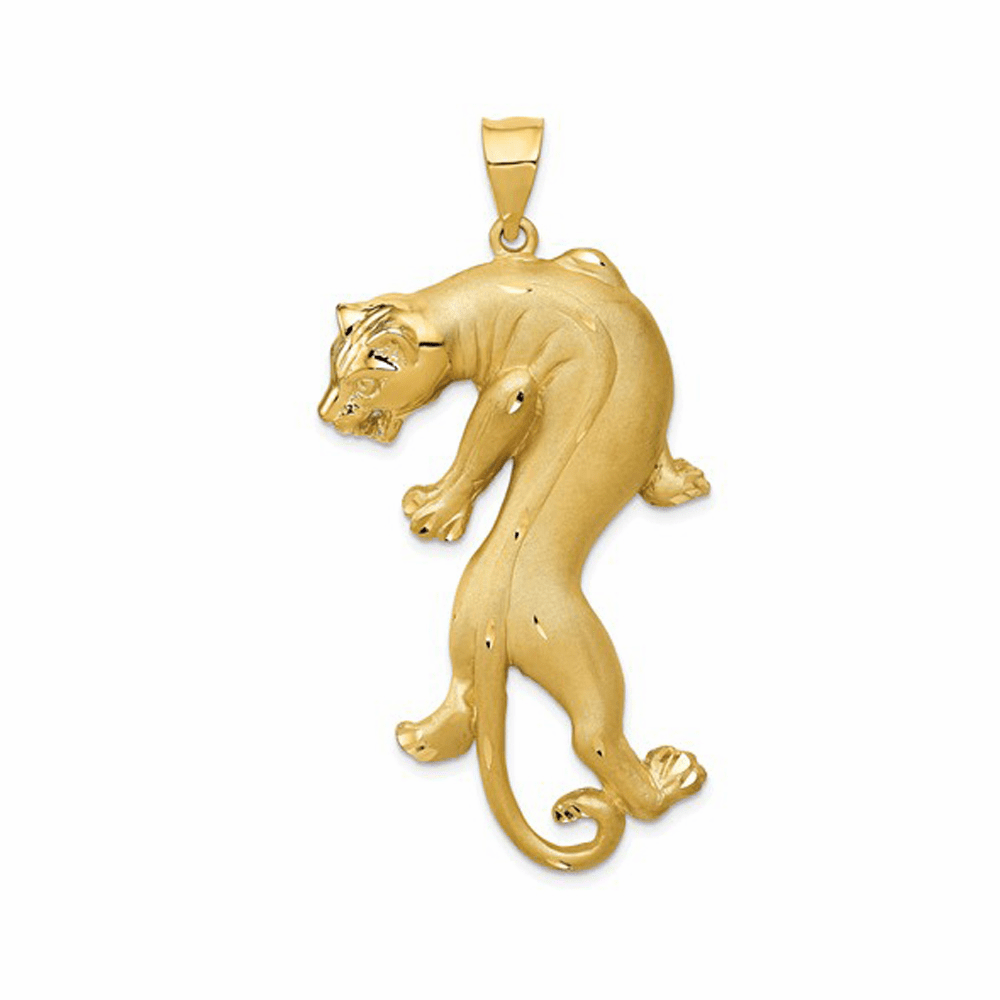 Polished and Solid Panther Pendant - 14K Yellow Gold
