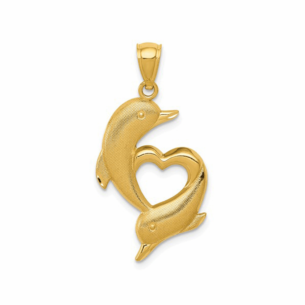 Polished and Textured Dolphins with Heart Pendant - 14K Yellow Gold