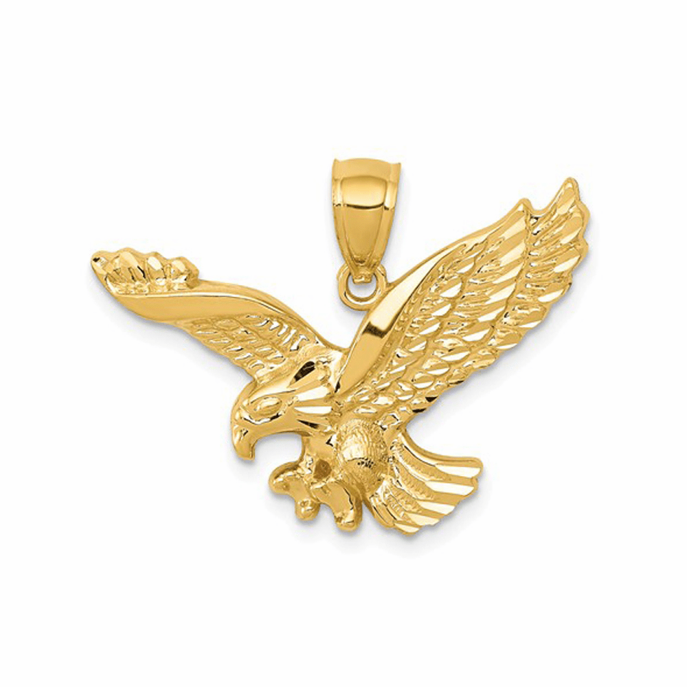 Polished and Textured Eagle Pendant - 14K Yellow Gold