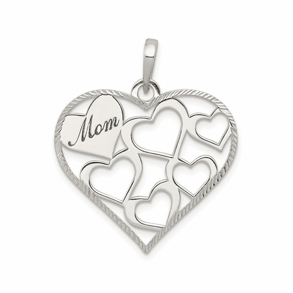 Polished and Textured Mom Engraved Heart Pendant - Sterling Silver