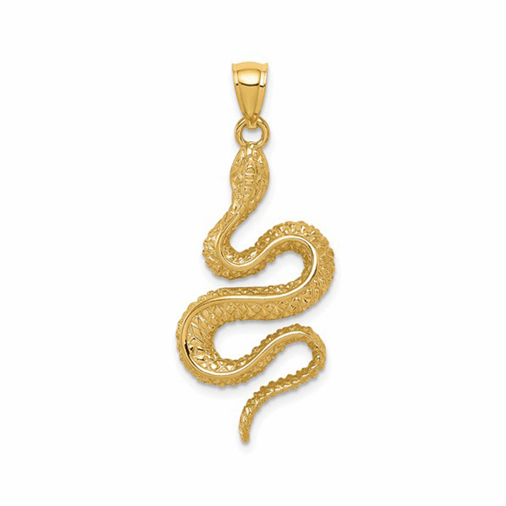 Polished and Textured Snake Pendant - 14K Yellow Gold