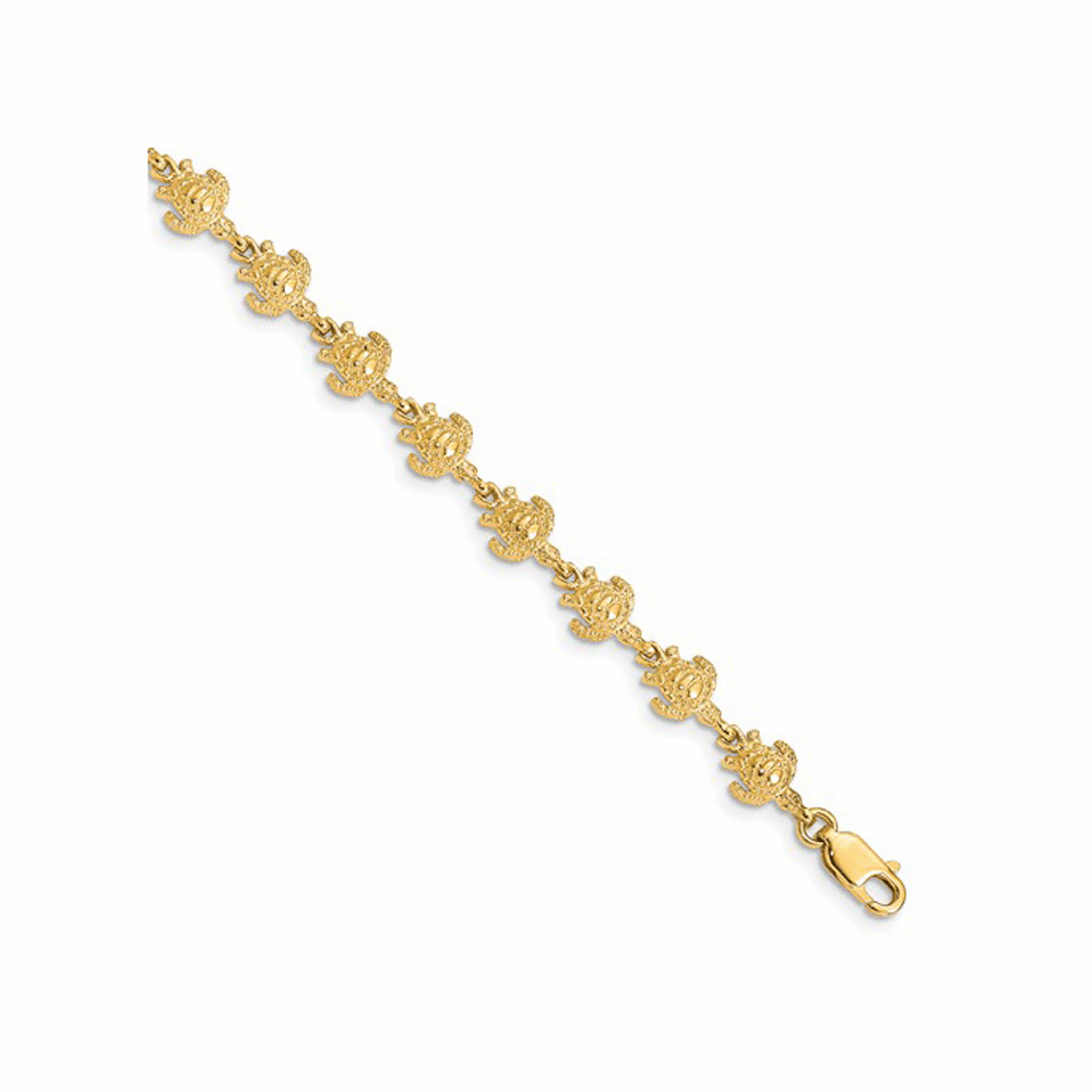 Polished and Textured Turtle Bracelet - 14K Yellow Gold 7 Inch