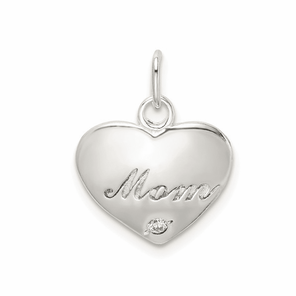 Polished CZ Heart Mom Charm - Sterling Silver
