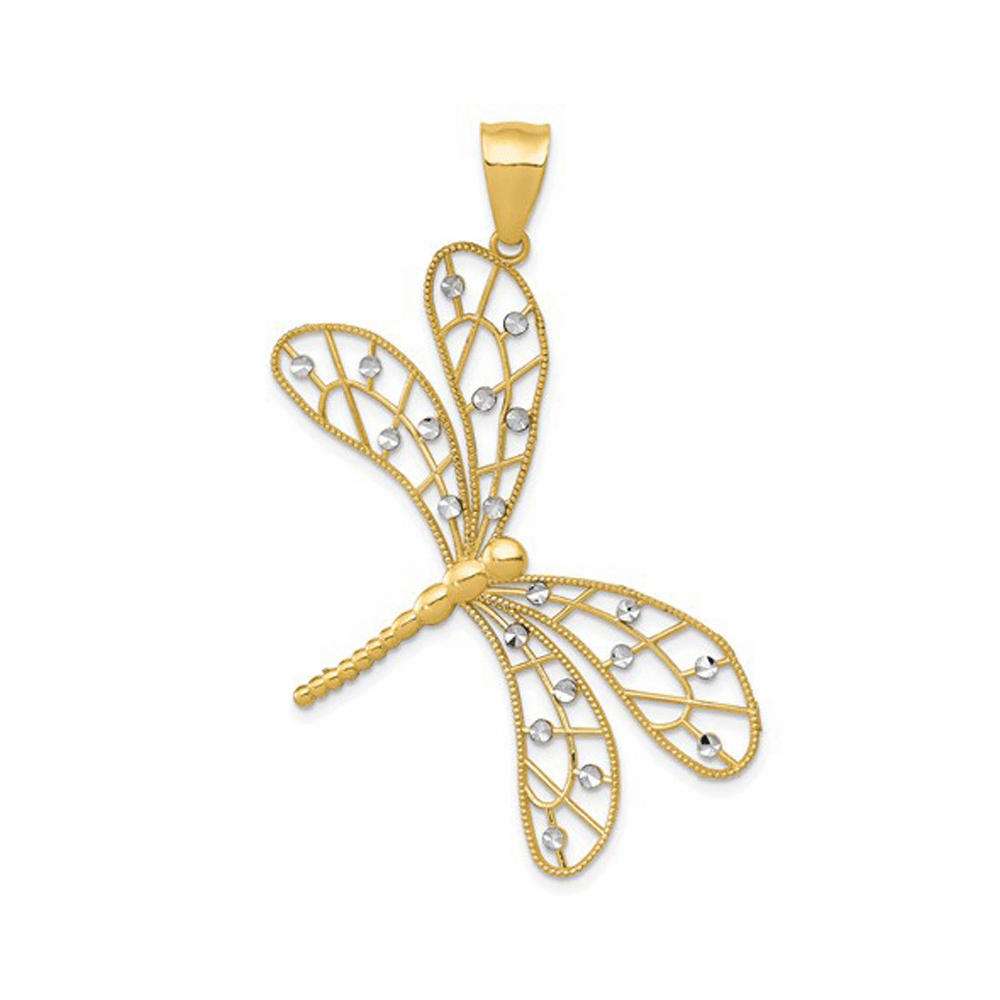 Polished D/C Filigree Dragonfly Pendant - 14K Yellow Gold
