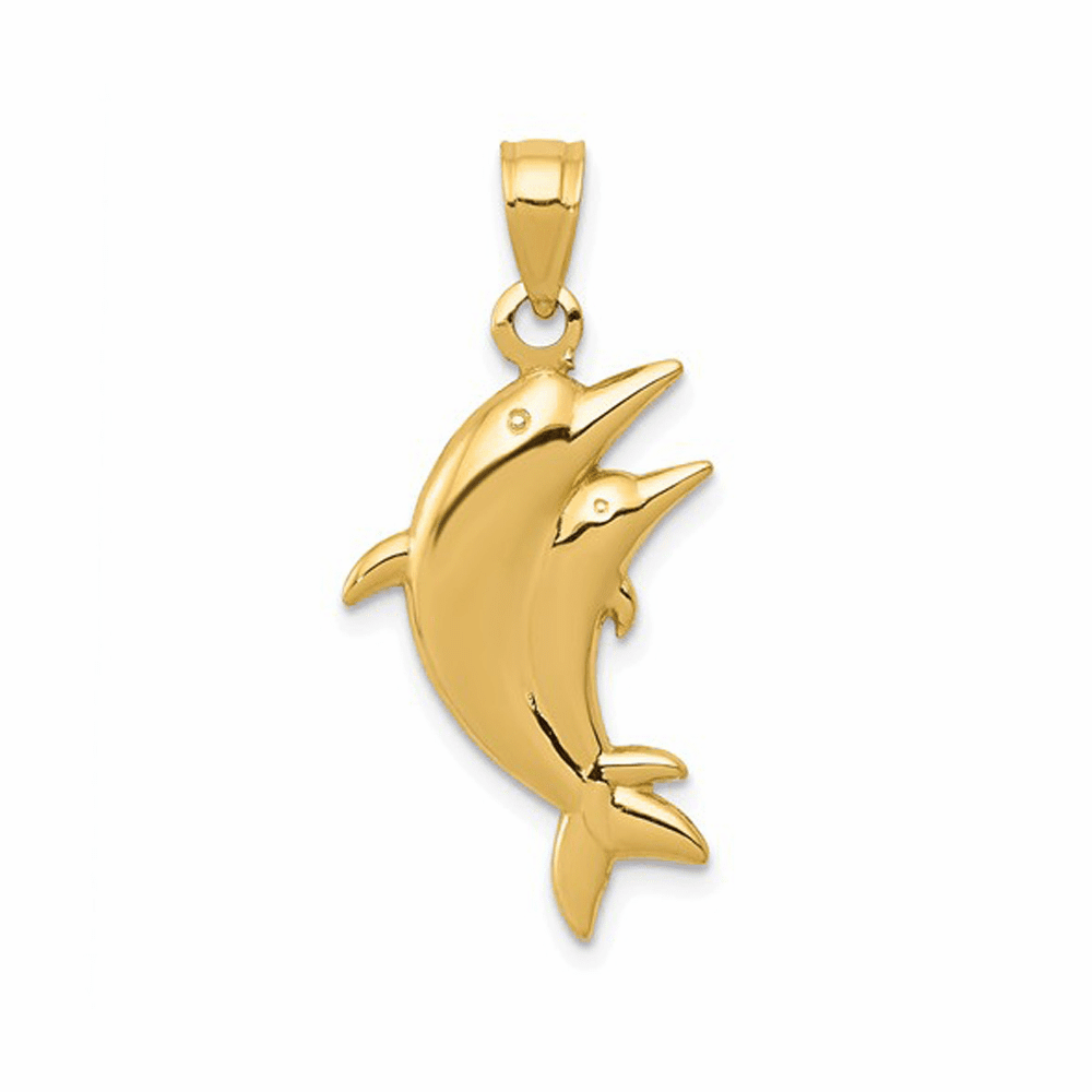 Polished Dolphin Pair Pendant - 14K Yellow Gold