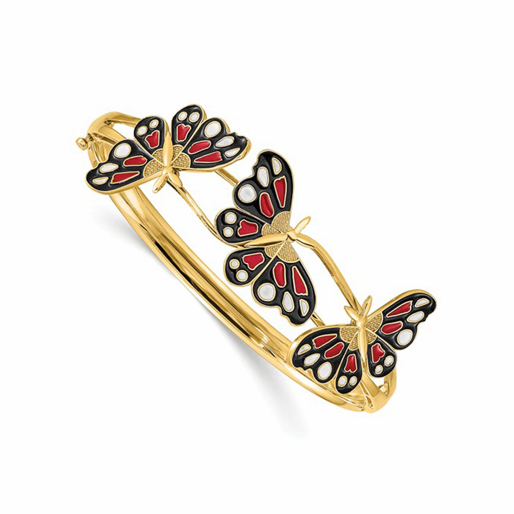 Polished Enameled Butterfly Hinged Bracelet - 14K Yellow Gold