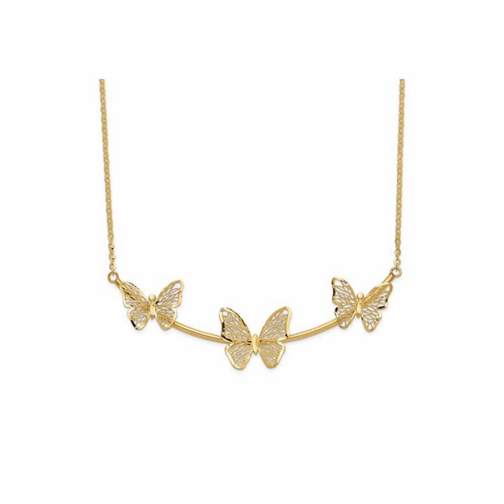 Polished Filigree 3-Butterfly Bar Necklace - 14K Yellow Gold 18 Inch
