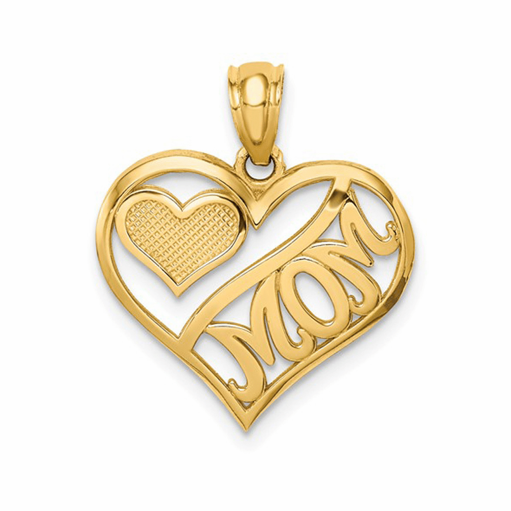 Polished Mom and Heart in Heart Pendant - 14K Yellow Gold