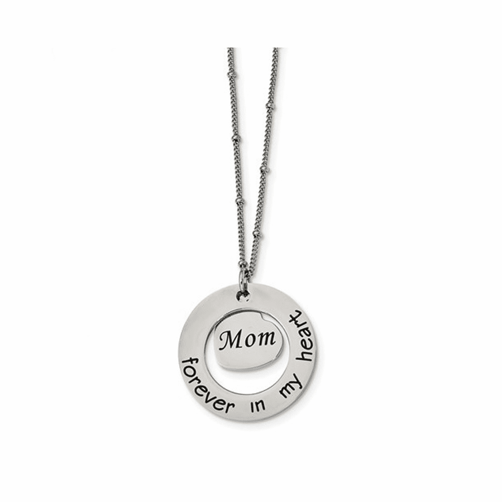 Polished Mom Forever In My Heart Necklace - Stainless Steel 30 Inch