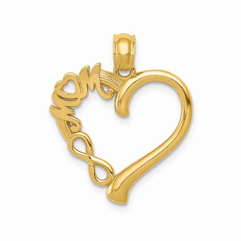 Polished Mom In Heart with Infinity Symbol Pendant - 14K Yellow Gold