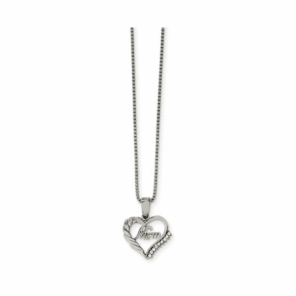 Polished Mom with CZ Necklace - Stainless Steel 18 Inch
