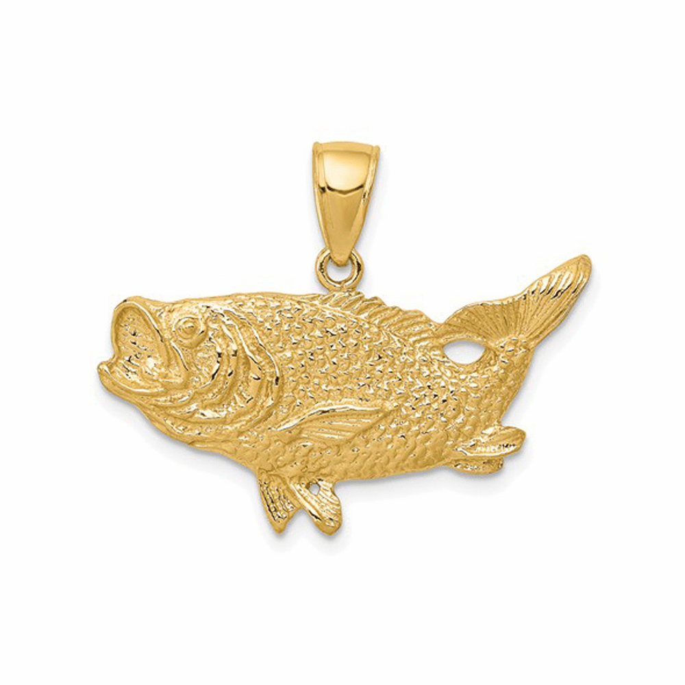 Polished Open-Backed Bass Fish Pendant - 14K Yellow Gold
